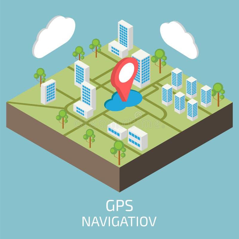 GPS isometric Isometric grodzka mapa ilustracja wektor