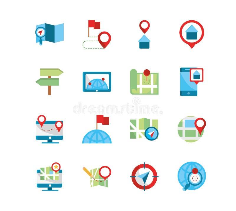 GPS-Karte und Navigation Icons-Auflistung vektor abbildung