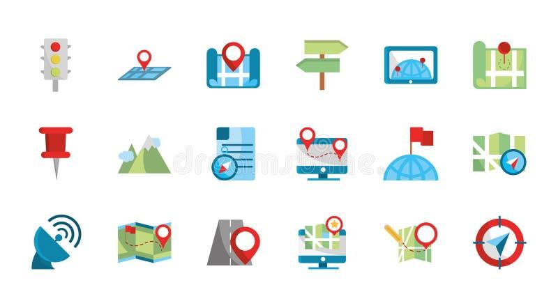 GPS-Karte und Navigation Icons-Auflistung lizenzfreie abbildung