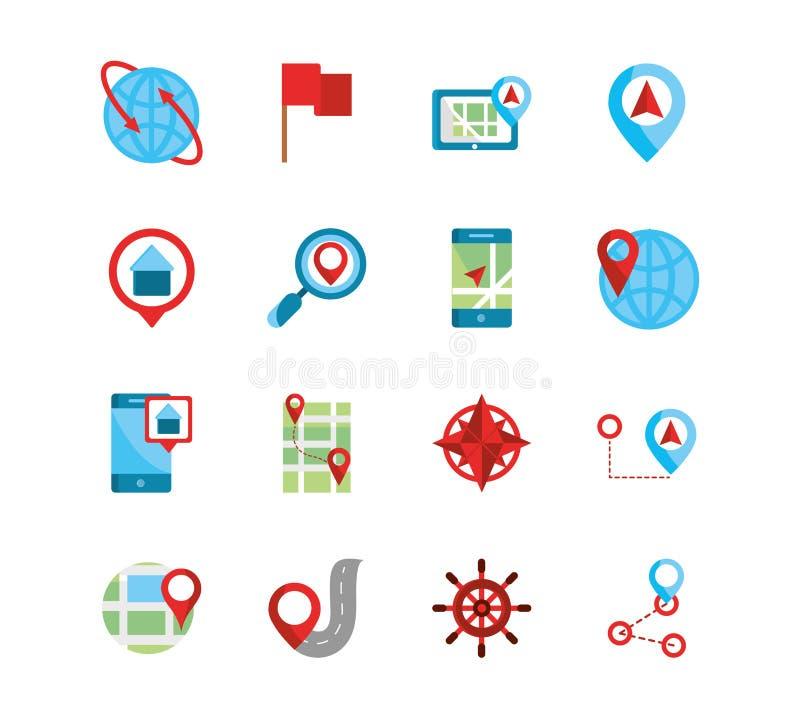 GPS-Karte und Navigation Icons-Auflistung stock abbildung
