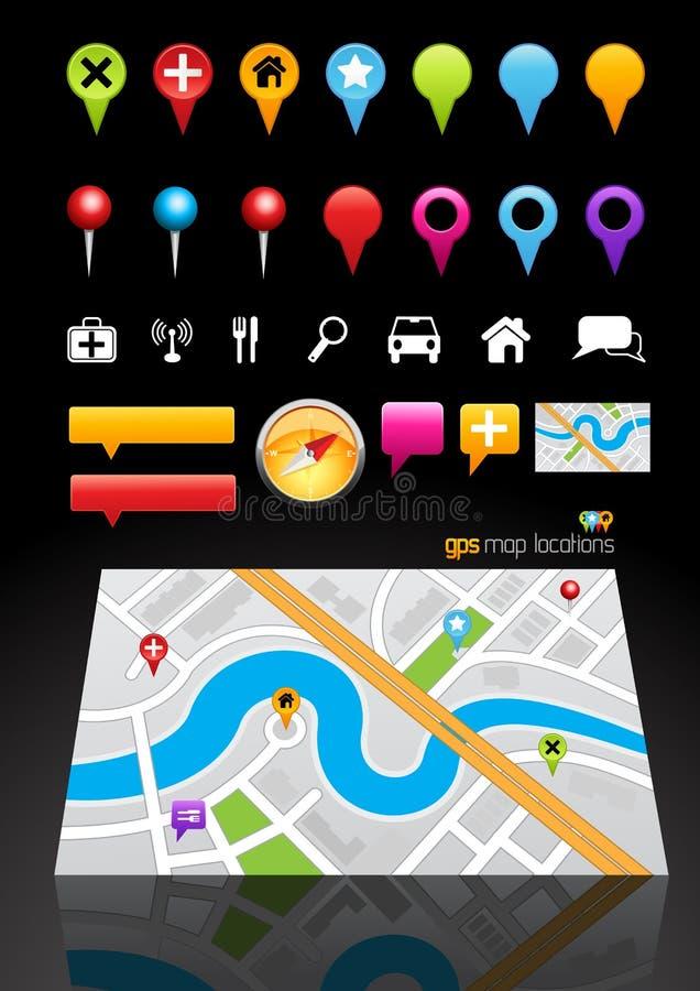 Gps-Karten-Standort-Markierungen lizenzfreie abbildung