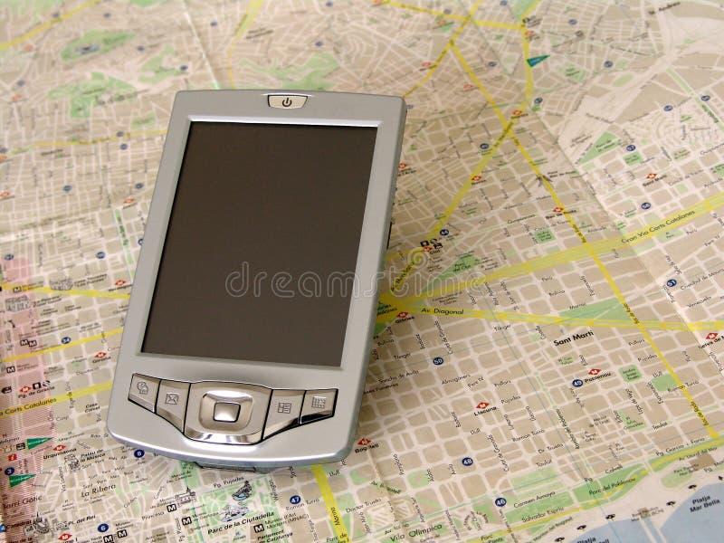 gps komputera osobistego palmowa kieszeń obraz royalty free