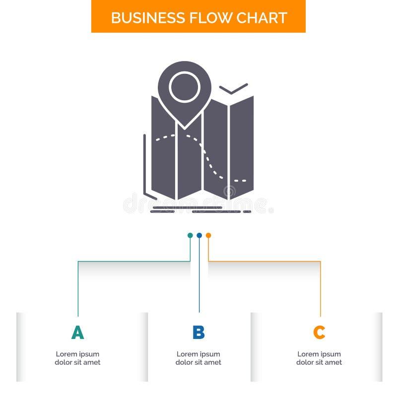 gps läge, översikt, navigering, design för diagram för ruttaffärsflöde med 3 moment Sk?rasymbol f?r presentationsbakgrundsmall royaltyfri illustrationer