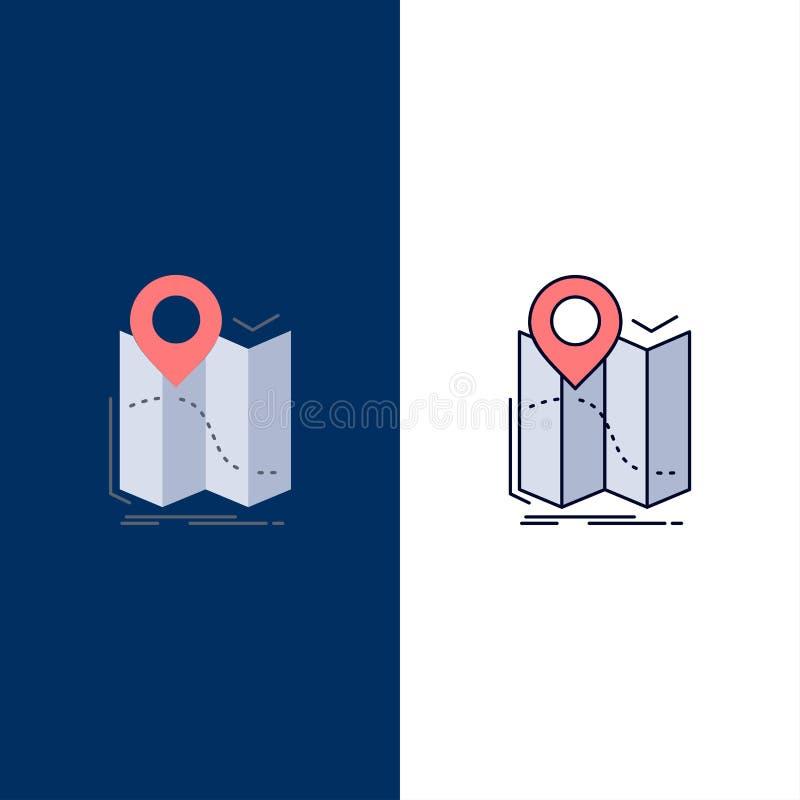 gps läge, översikt, navigering, för färgsymbol för rutt plan vektor royaltyfri illustrationer
