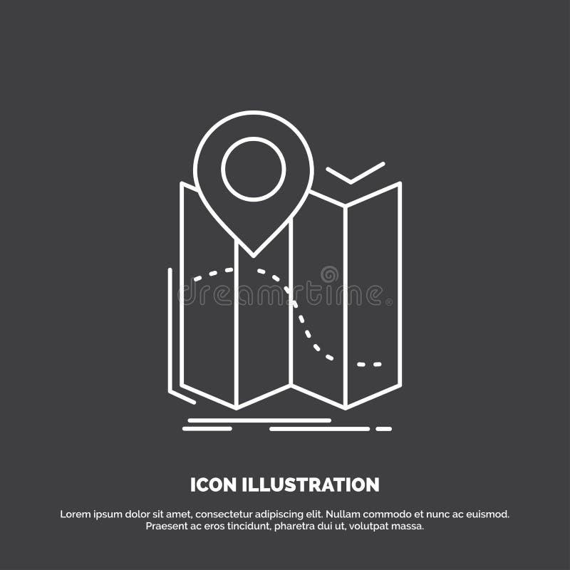 gps läge, översikt, navigering, ruttsymbol Linje vektorsymbol f?r UI och UX, website eller mobil applikation royaltyfri illustrationer