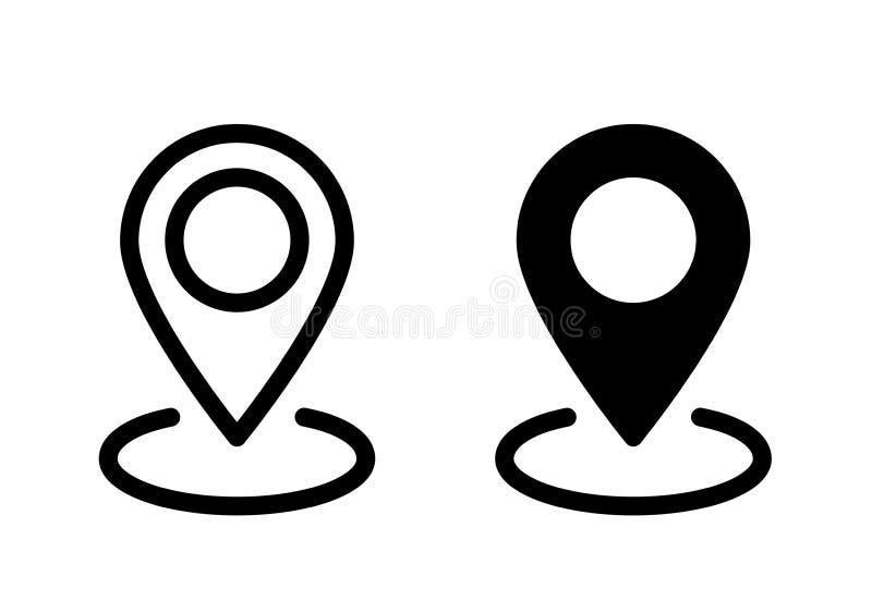 GPS l?gesymbol linje stil Plan stil - materielvektor stock illustrationer