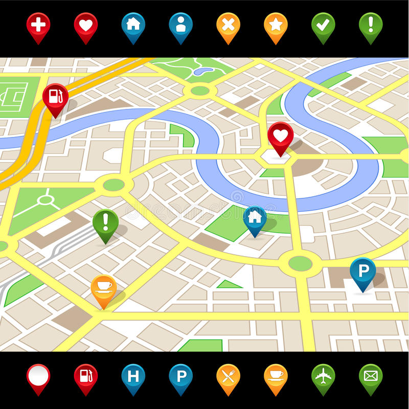 GPS like imaginary city MAP. A Perspective generic city map of an imaginary city with light colors with some cute important places icons stock illustration