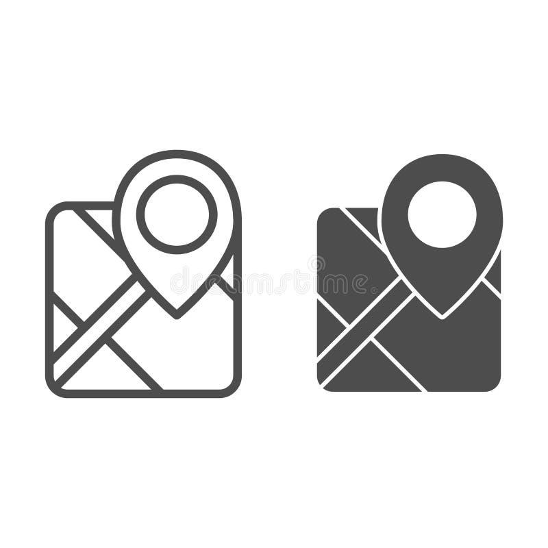 Gps linia i glif ikona Mapa z wa?kow? wektorow? ilustracj? odizolowywaj?c? na bielu Markier lokalizuje konturu stylu projekt ilustracji