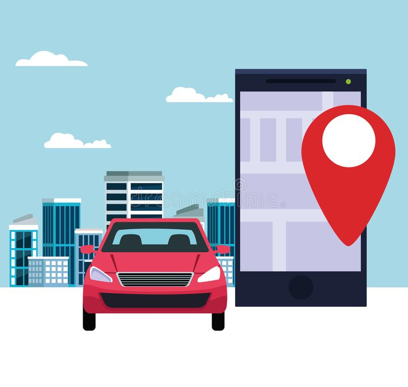 Gps location car service concept. With car and cellphone with location symbol cityscape icon cartoon vector illustration graphic design stock illustration