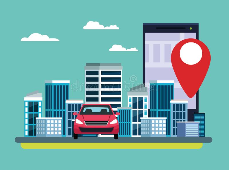 Gps location car service concept. With car and cellphone with location symbol cityscape icon cartoon vector illustration graphic design royalty free illustration