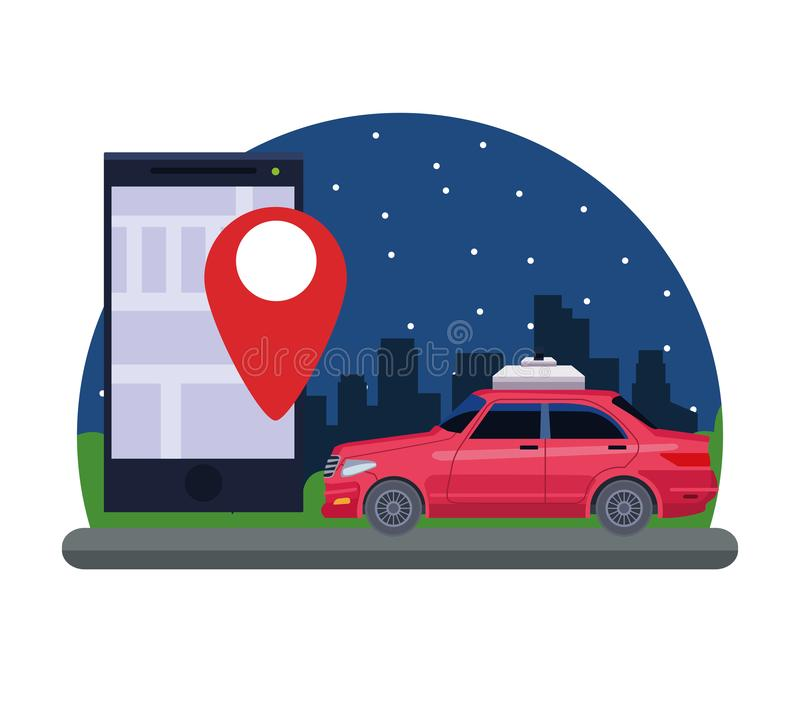 Gps location car service concept. With car and cellphone with location symbol cityscape at night icon cartoon vector illustration graphic design stock illustration