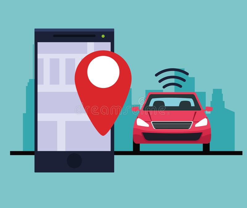 Gps location car service concept. Cellphone with location symbol in cityscape silhouette icon cartoon vector illustration graphic design stock illustration