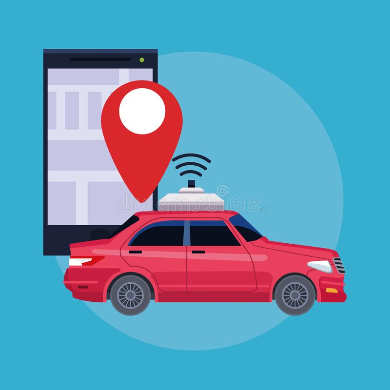 Gps location car service concept. Cellphone with location symbol in round icon icon cartoon vector illustration graphic design royalty free illustration