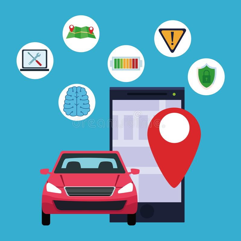 Gps location car service concept. With car and cellphone with location symbol and technology icons computer, map, battery and shield protection cartoon vector royalty free illustration