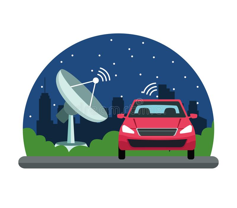 Gps location car service concept. Reception antenna in cityscape silhouette icon cartoon vector illustration graphic design vector illustration