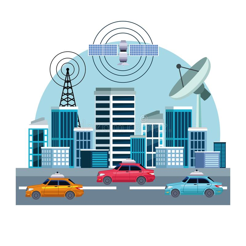Gps location car service concept. With satelite, antenna and cityscape icon cartoon vector illustration graphic design vector illustration