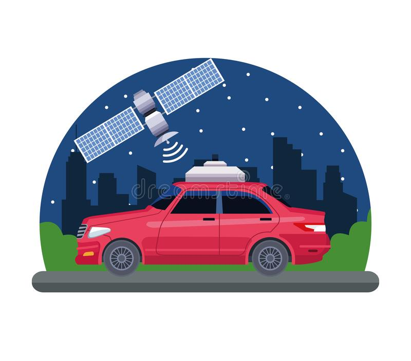 Gps location car service concept. With satelite in cityscape silhouette icon cartoon vector illustration graphic design royalty free illustration