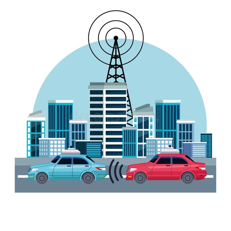 Gps location car service concept. Transmision tower sending sign to cars in cityscape con cartoon vector illustration graphic design royalty free illustration