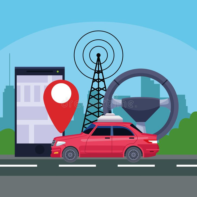 Gps location car service concept. With transmition tower and cellphone with location symbol in cityscape silhouette icon cartoon vector illustration graphic stock illustration