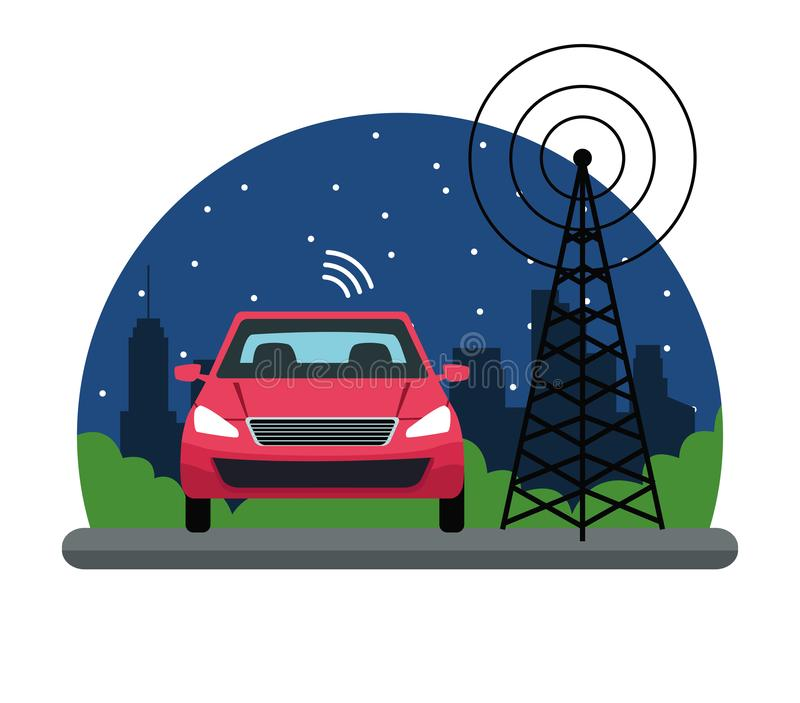 Gps location car service concept. With transmition tower in cityscape silhouette icon cartoon vector illustration graphic design stock illustration