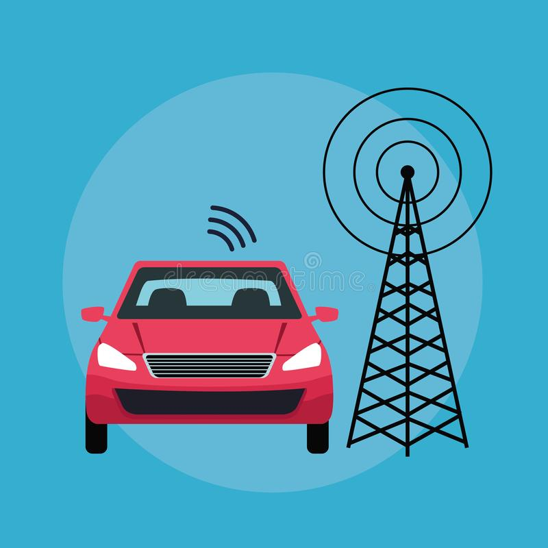 Gps location car service concept. With transmition tower in round icon icon cartoon vector illustration graphic design royalty free illustration