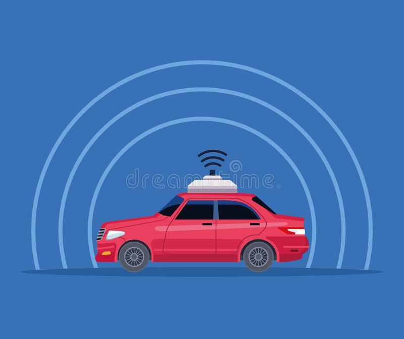 Gps location car service concept. With wireless sign icon cartoon vector illustration graphic design vector illustration