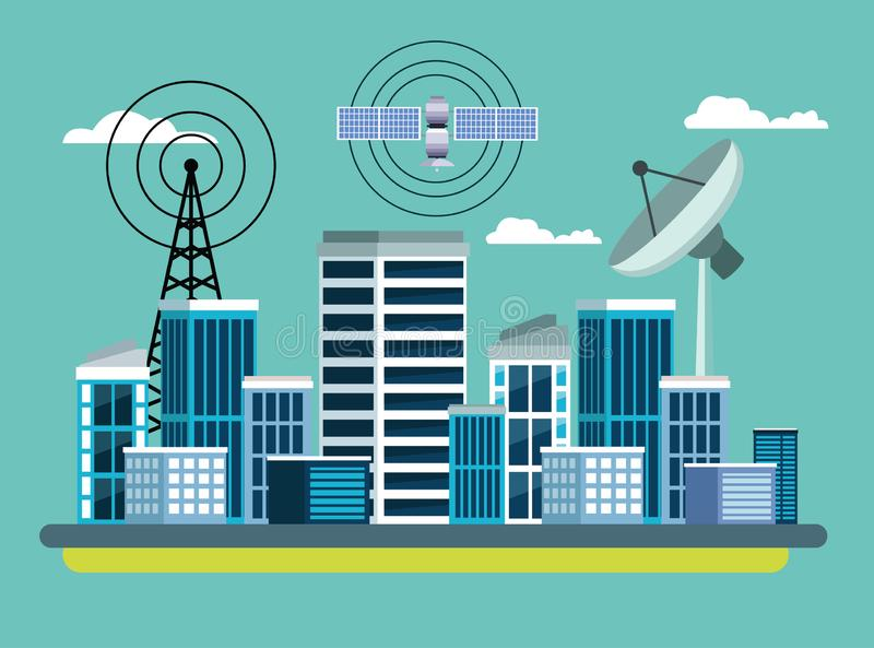 Gps location satelital service concept. With satelite, antenna and cityscape icon cartoon vector illustration graphic design royalty free illustration