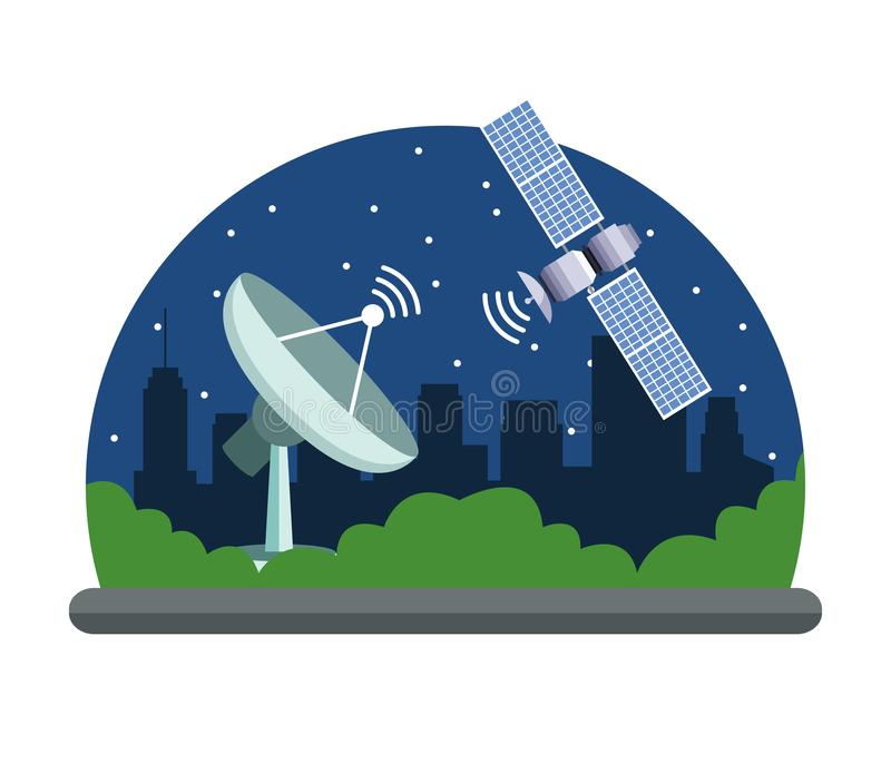 Gps location satelital service concept. With satelite, antenna and cityscape at night icon cartoon vector illustration graphic design stock illustration