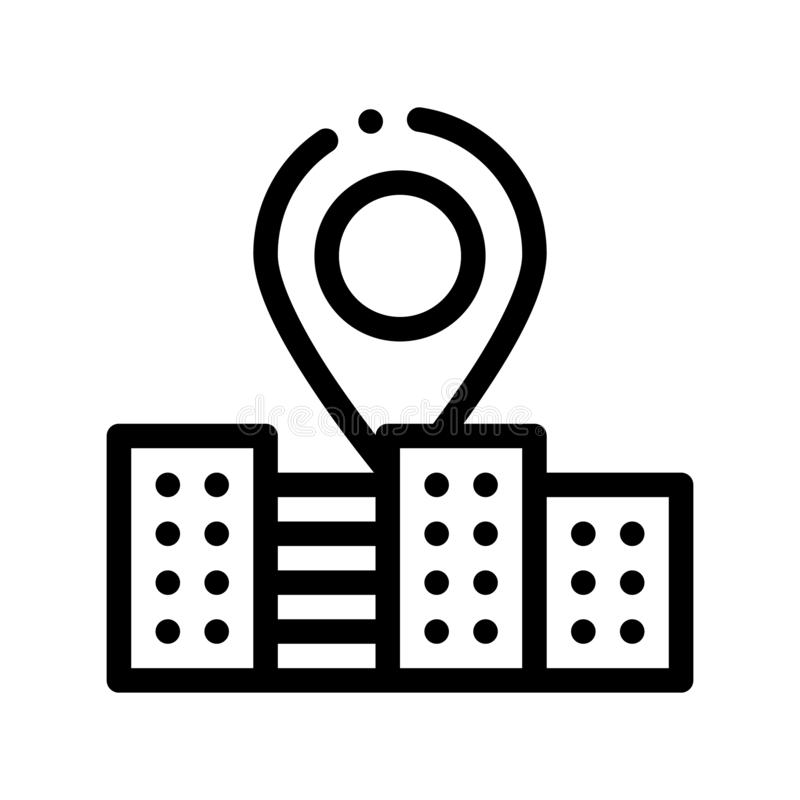 Gps Locaton Mark And Building Vector Sign Icon. Thin Line. Location Mark, Hotel Performance Of Service Equipment Linear Pictogram. Business Hostel Items stock illustration