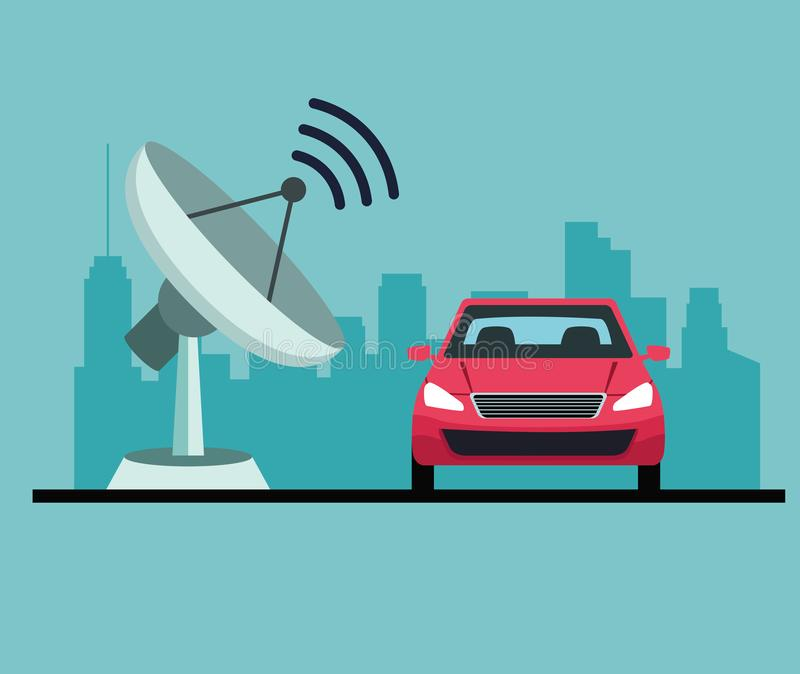Gps lokacji samochodu usługi pojęcie royalty ilustracja