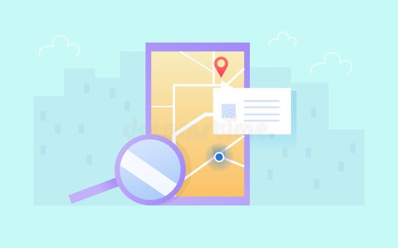 Gps móveis e conceito do seguimento App da trilha do lugar no dispositivo do écran sensível Ponteiro vermelho do pino no mapa imagem de stock royalty free
