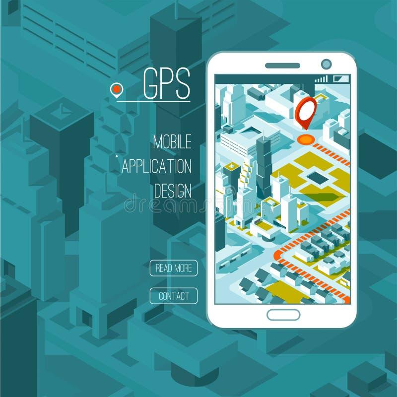 Gps móveis e conceito do seguimento Trilha app do lugar no smartphone do écran sensível, mapa isométrico da cidade ilustração stock
