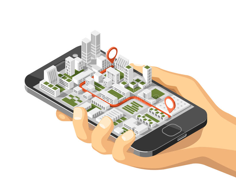 Gps móveis e conceito do seguimento Trilha app do lugar no smartphone do écran sensível, no fundo isométrico do mapa da cidade ilustração royalty free