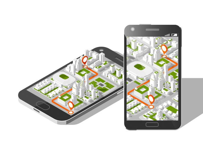 Gps móveis e conceito do seguimento Trilha app do lugar no smartphone do écran sensível, no mapa isométrico da cidade ilustração stock