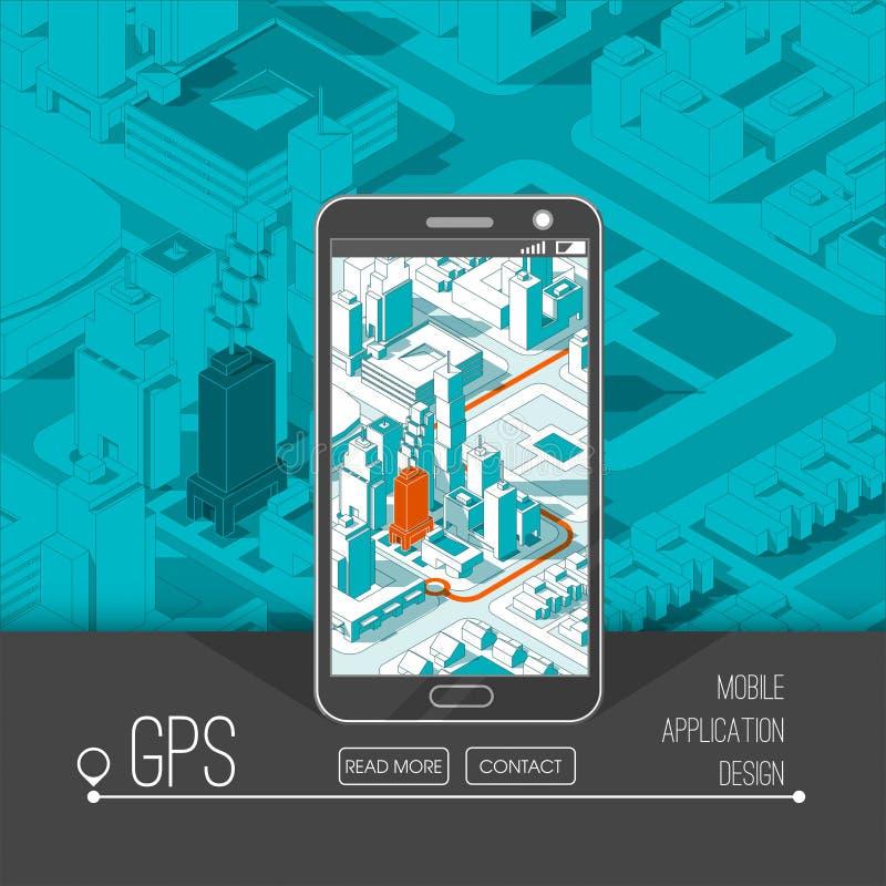 Gps móveis e conceito do seguimento Trilha app do lugar no smartphone do écran sensível, no mapa isométrico da cidade ilustração do vetor