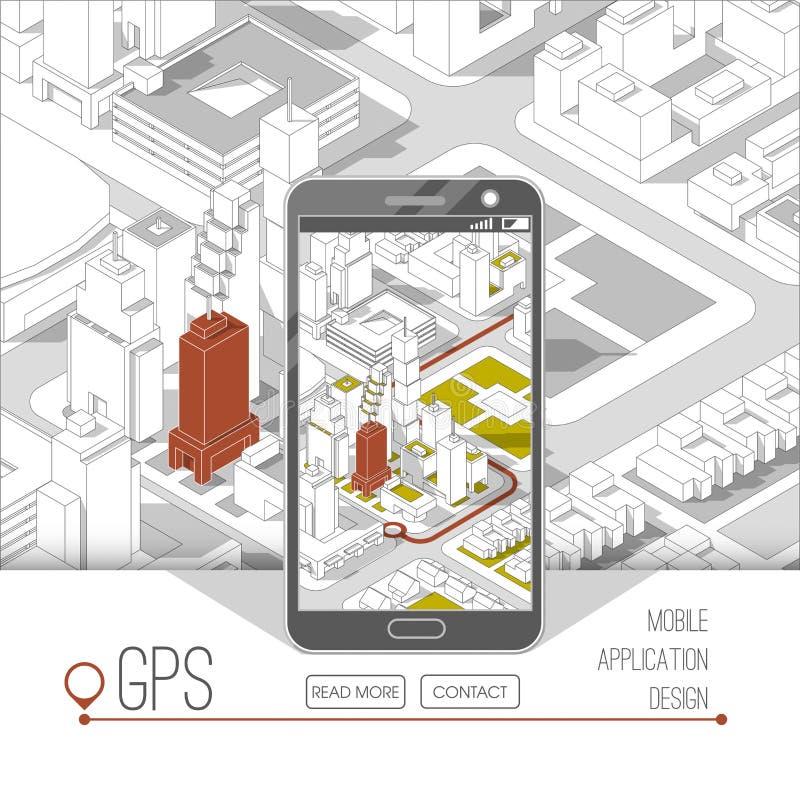Gps móveis e conceito do seguimento Trilha app do lugar no smartphone do écran sensível, no mapa isométrico da cidade ilustração royalty free