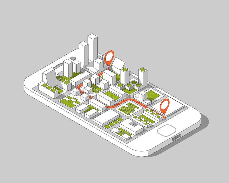 Gps móveis e conceito do seguimento Trilha app do lugar no smartphone do écran sensível, no fundo isométrico do mapa da cidade ilustração do vetor