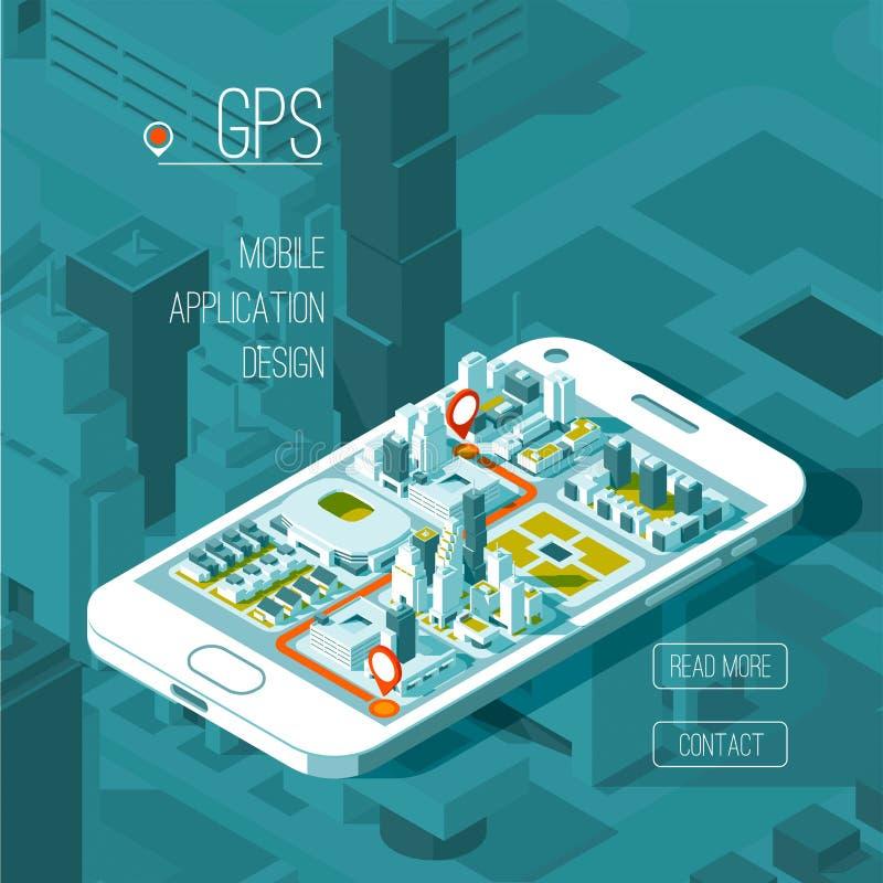 Gps móviles y concepto del seguimiento Pista app de la ubicación en el smartphone de la pantalla táctil, mapa isométrico de la ci ilustración del vector