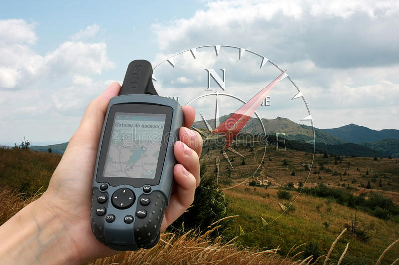 GPS with map. Modern navigation with GPS units. Easy find way and geocaching. GPS displaying topographical map royalty free stock image