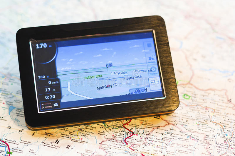 GPS on map royalty free stock images