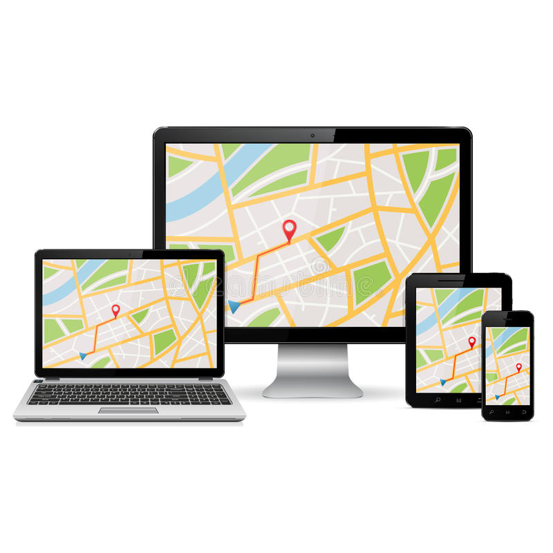 GPS map on display of modern digital devices. Isolated on white background stock illustration