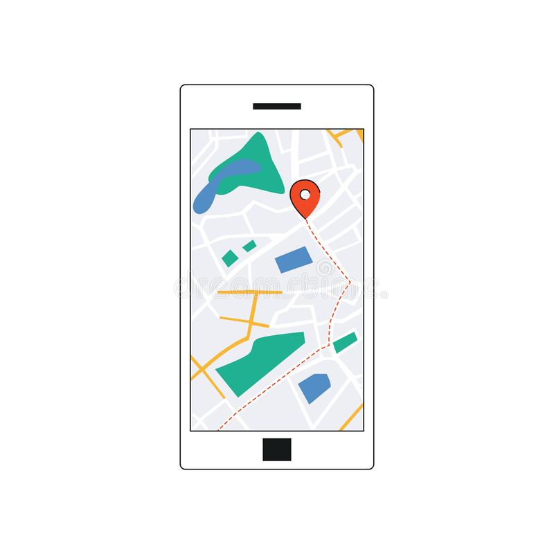 GPS map interface on smarthone screen. GPS map interface on smartphone screen, mobile navigation app on phone with red destination marker point. Route through royalty free illustration