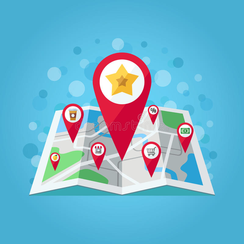 GPS map pointers on the map vector illustration (apple, star, shop, take away coffee, shop trolley, percent, money). Flat design. GPS map pointers on the map vector illustration