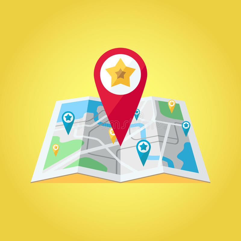 GPS map pointers on the map vector illustration. Big red GPS pointer with star. vector illustration