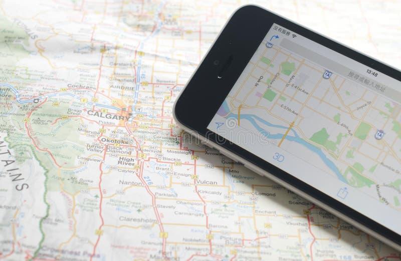 gps mapy nawigatora smartphone obrazy stock
