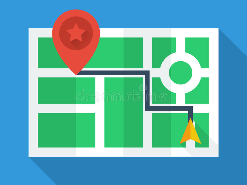GPS mapy Odgórny widok ilustracji