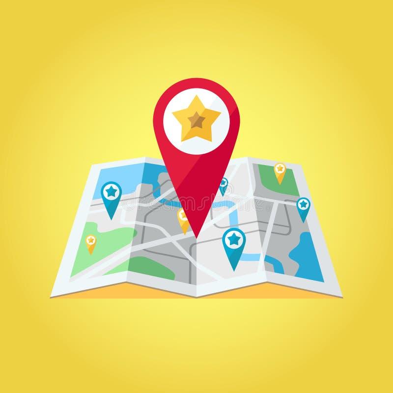GPS mapy pointery na mapa wektoru ilustraci Duży czerwony GPS pointer z gwiazdą ilustracja wektor