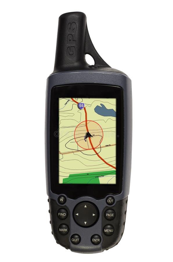 GPS mit Karte auf Weiß stockfotos