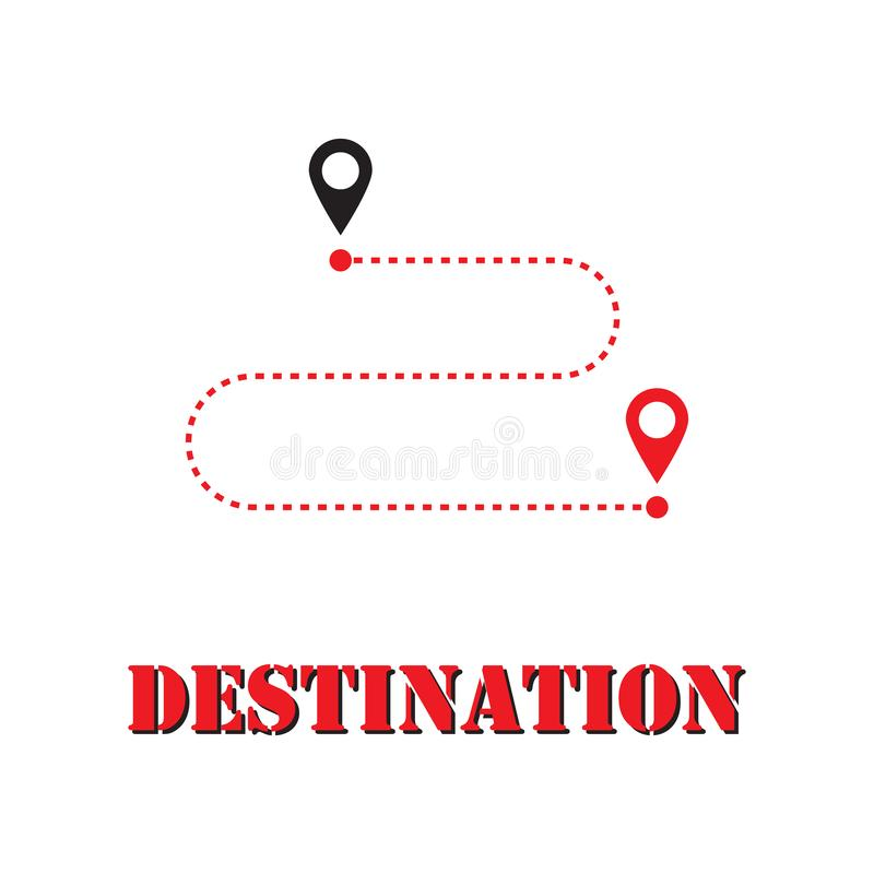 GPS motion from point to point along the way. Flat Breath for Advertising and Web Design. Point of Destination. Vector royalty free illustration