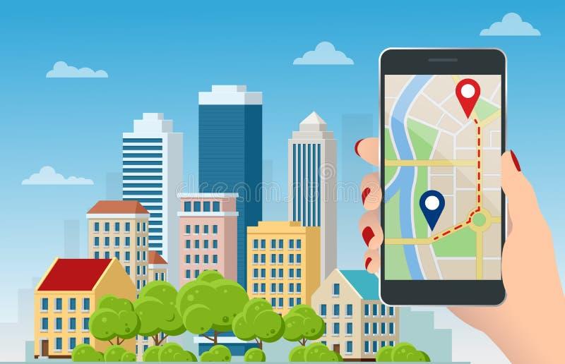 GPS-navigatie met een platte, rode en blauwe aanwijzer aan de telefoon GPS-trackingkaart Navigatiepannen volgen op straatkaarten stock illustratie